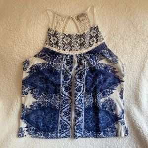 Lucky Brand Tank Top With Crochet Details